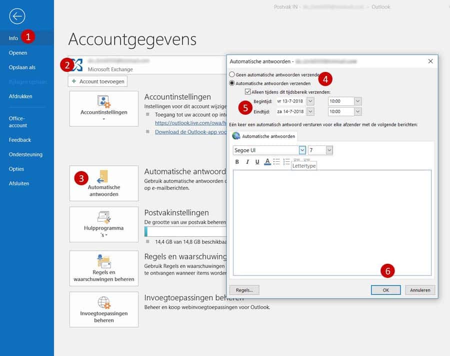 office outlook automatisch email instellen
