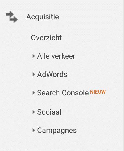 Google analytics acquisitie onderdeel