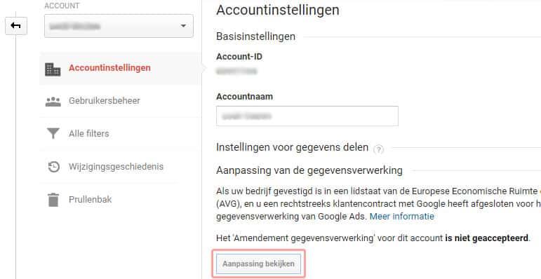 Gebruikersovereenkomst Google Analytics