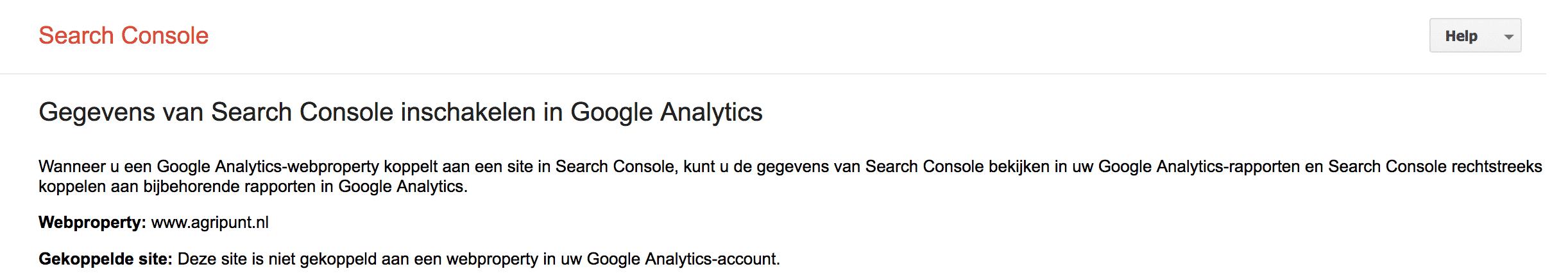 Kies Google Search Console property voor koppeling met Google Analytics