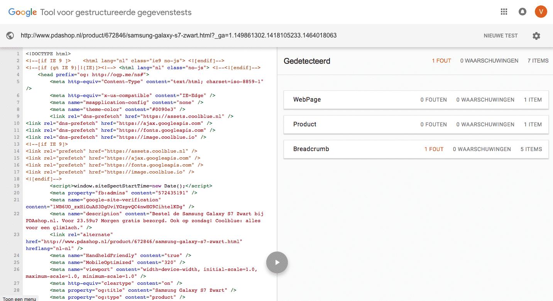 De structured data testing tool van Google