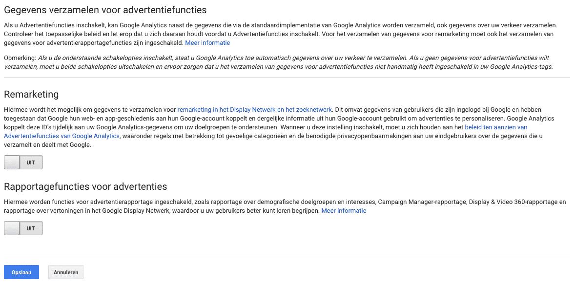 Geen gegevens delen met advertentiedoeleinden