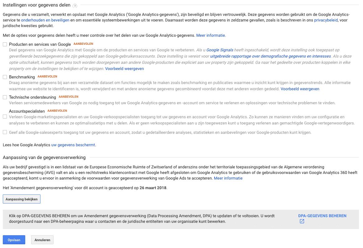 Geen gegevens delen met Google
