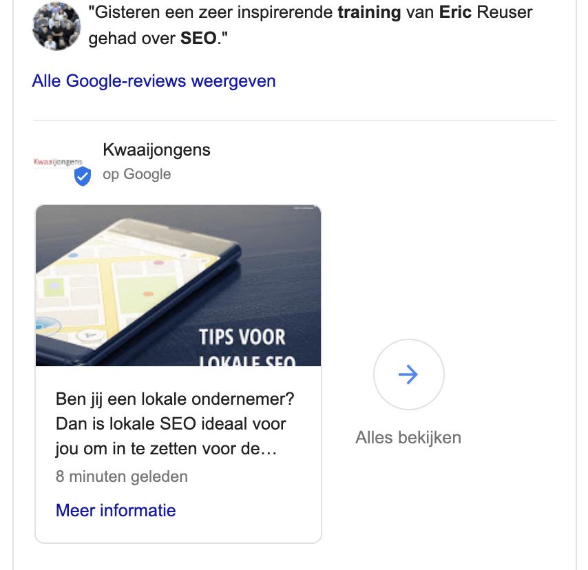 Lokale SEO met Google Posts