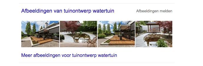 optimaliseer afbeelding voor Google, voorbeeld watertuin
