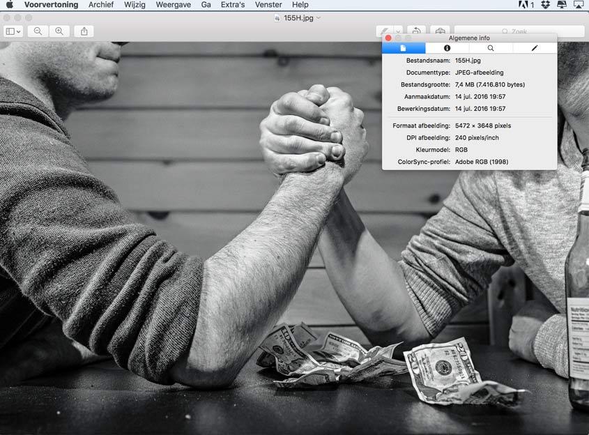 resolutie controleren afbeelding op mac