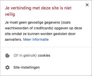 Verbinding website niet veilig