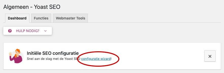 Yoast SEO configuratie wizard