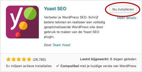 Yoast SEO installeren