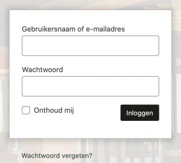 login scherm wordpress wachtwoord vergeten