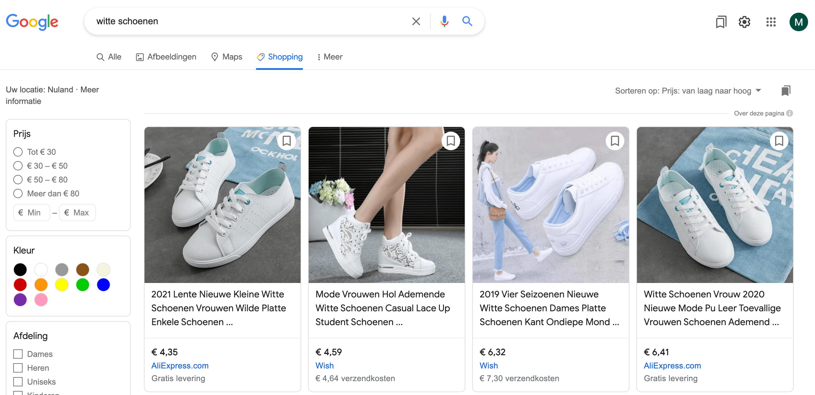 organische google shopping advertenties