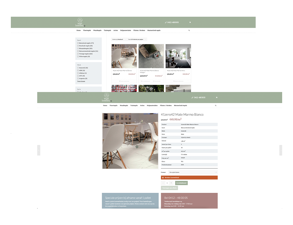 webshop product tegelsite